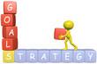 GOALS STRATEGY 3D cartoon man builds business