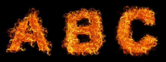 Set of Fire letter A B C