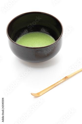 抹茶と茶碗と茶杓