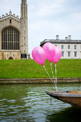 Kings College Chapel with Pink Balloons Cambridge
