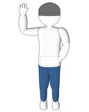 3d human raises his hand high poster
