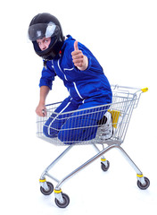 motorcyclist in shopping cart, thumb up