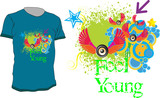 Colorful abstract vector t-shirt design with quote - Feel Young poster
