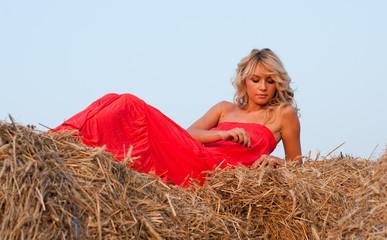 Beautiful blondie on a haystack