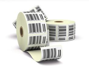 barcodes sticker label over white background