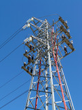 Parte superior torre media tension poster