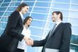 businesspeople shake hands
