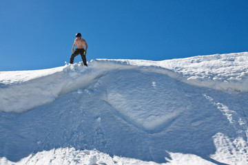 Man on the snow top.