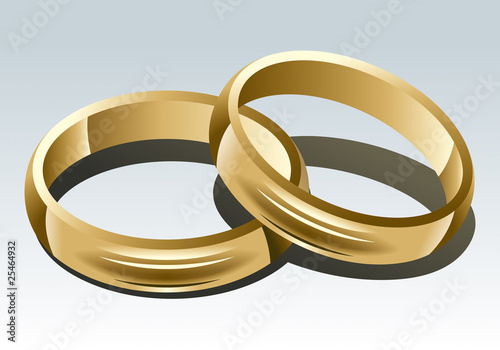 Wedding Rings on White Background. Vector Illustration.