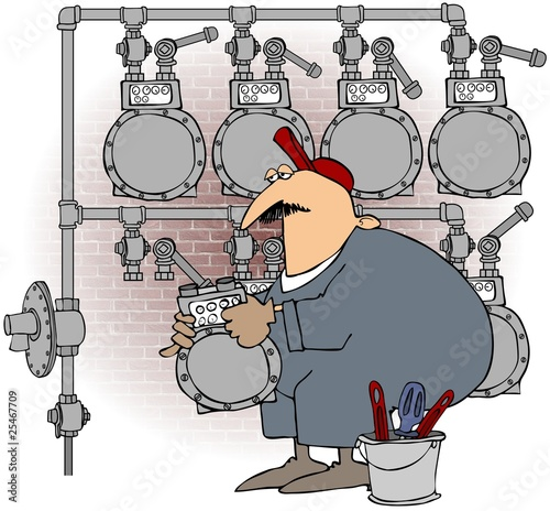 Man Changing A Gas Meter