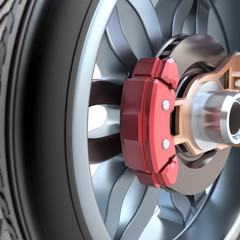 Wheel and brake pads
