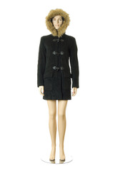 Mannequin in winter coat with hood | Isolated