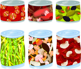 Set of a various food tins