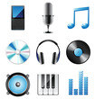 highly detailed music icons