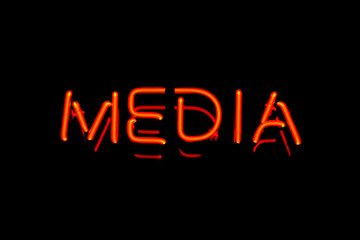 Media neon sign