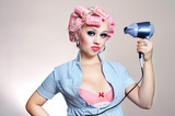 Unhappy housewife with hairdryer poster