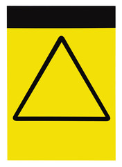 Blank yellow black triangle caution warning attention sign