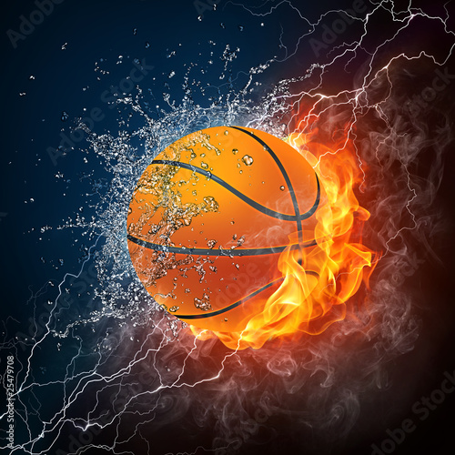 Tuinposter Vlam Basketball Ball