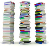 Education and wisdom. Tall heaps of hardcovered books poster