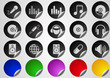 Music and Dance icons Label Button series