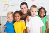 young teacher and kindergarten students - Fine Art prints