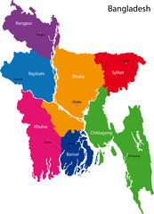 Map of People's Republic of Bangladesh with provinces