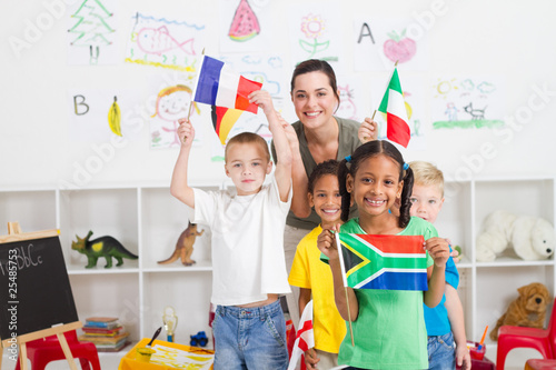 cute south african girl with diverse classmates in background