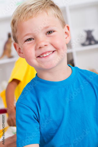 happy boy in preschool