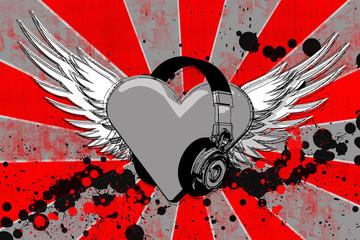 i heart headphones grunge2