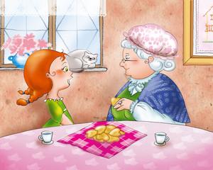 Nonna e nipote a colazione