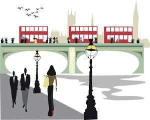 London river Thames illustration