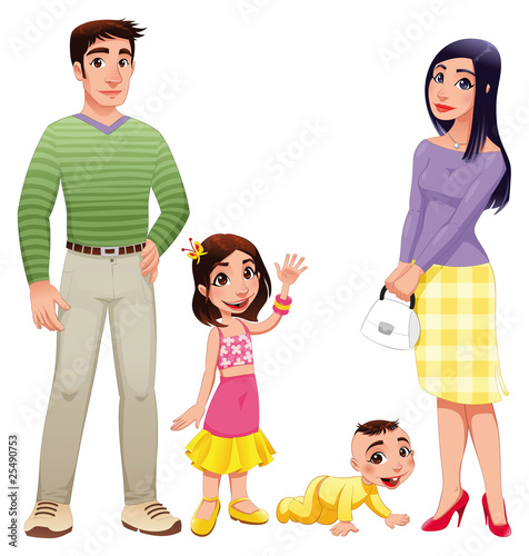Human family. Vector illustration, isolated characters