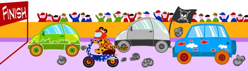 Pazza gara di veicoli divertenti