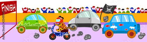 Foto op Canvas Cars Pazza gara di veicoli divertenti