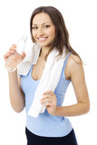 Woman in sportswear drinking water, isolated on white poster