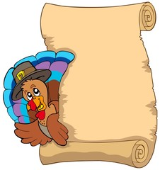 Thanksgiving scroll with turkey 1