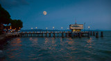 Pier at Passignano, Umbria in moonlight poster