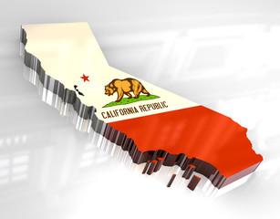 3d flag map og California