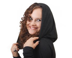 Woman in a hood.