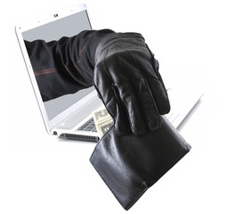 Hacker taking money out of pocket concet
