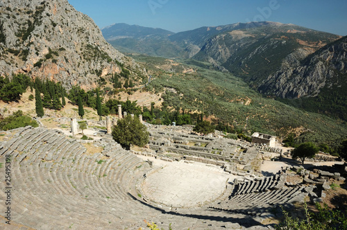 Ruins of ancient amphitheater in Delphi,Greece
