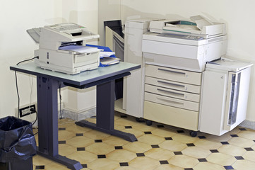 Office room with photocopier and fax machine