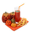 Tomato juice and halloween cakes