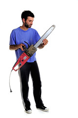 man with wood cutter