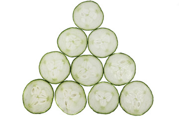 ten slices of cucumber composition isolated on white background
