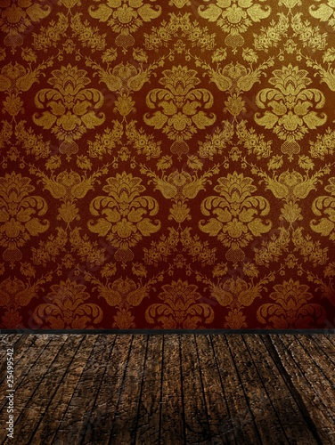 vintage wallpaper room. damask wallpaper room. vintage