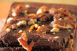 Chocolate Brownie with Nuts Close-up