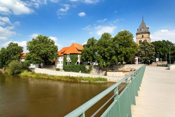 Blick auf Langer Wall und St. Bonifatius in Hameln