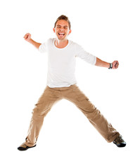 Excited man jumping