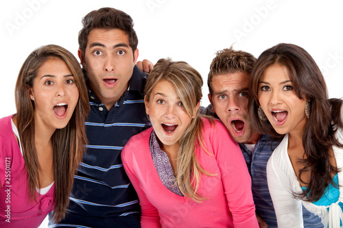 Group of surprised people
